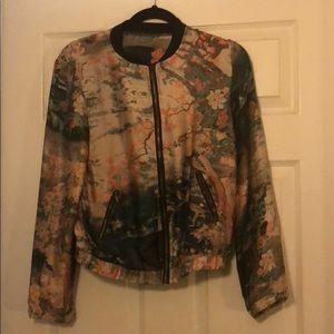Jackets & Blazers - Satin Floral Bomber Jacket